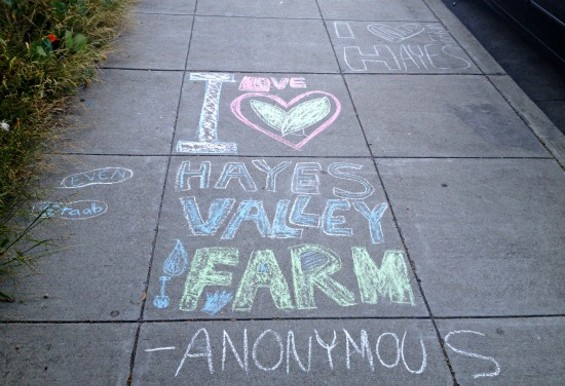 An outpouring of love for the farm on the sidewalk at Fell and Laguna. - ANNA ROTH