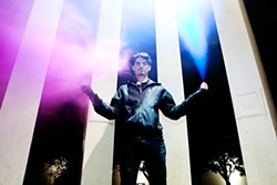 Angelides wields the big light and the big sound.