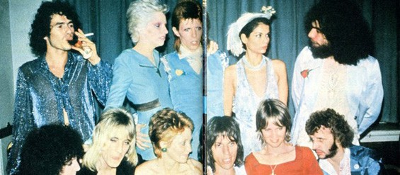 Angie and David Bowie in their partying days with Mick and Bianca Jagger, Ringo Starr, Lulu, Mick Ronson, and more. - COURTESY ANGIE BOWIE.
