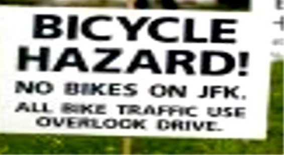 Are bicycles in parks hazardous? Or are concert festivals a hazard to cyclists? - JIM HERD