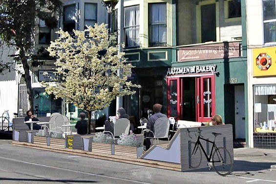 As shown in this rendering, the proposed parklet would erase two meter spaces on Ninth Avenue directly in front of Arizmendi Bakery. - ARIZMENDI