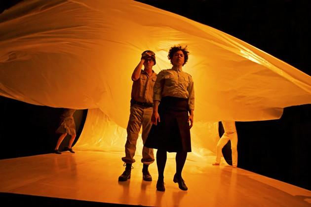 Kenny Toll as Guard, Rami Margron as Antigone, photo by Pak Han