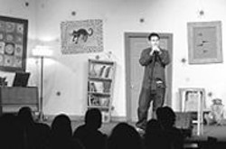 """JAMES  SANDERS - At Cobb's Comedy Club, hosting and - bombing. """"He's fearless onstage,"""" says - Cobb's co-owner Tom Sawyer."""