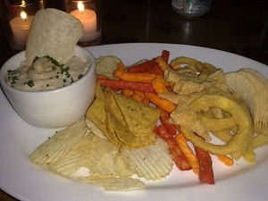 At last year's Mission Stoned Food at Lung Shan, snack foods accompanied onion-foie gras dip. - TAMARA PALMER