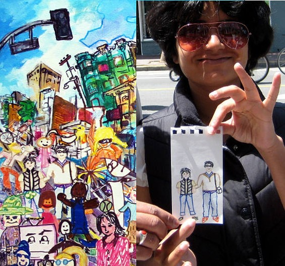 At Sunday Streets in the Mission, a participant shows off her self-portrait for Todd Berman's painting. - TODD BERMAN, ET AL.