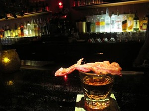 Bacon and a shot of whiskey at KoKo Cocktails. - LOU BUSTAMANTE
