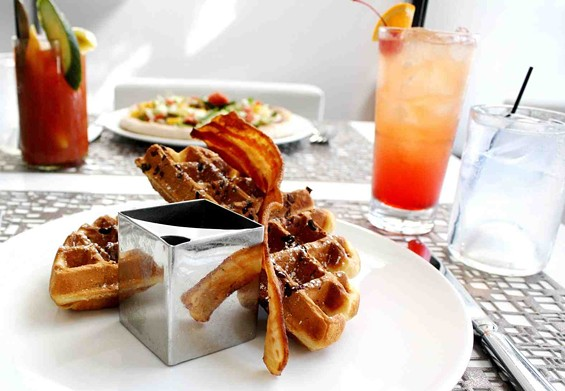 "Bacon and cocoa nib waffles at ""Remix Brunch."" - TRACE RESTAURANT"