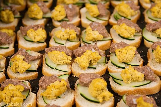 Balut pâté crostini from Intramuros. - JUN BELEN