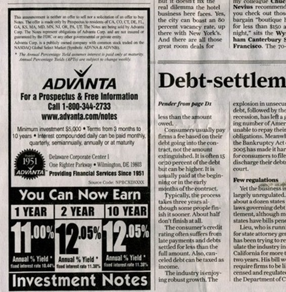 Banking experts qualify the service being hawked in this San Francisco Chronicle ad as a potential Ponzi scheme