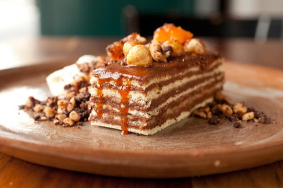 Bar Tartine's Dobos torte with apricots and candied hazelnuts. - LARA HATA
