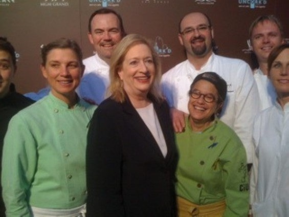 Barbara Fairchild, center, surrounded by the Two Hot Tamales and a bunch of other chefs. - CHICAGO PUBLIC MEDIA/FLICKR