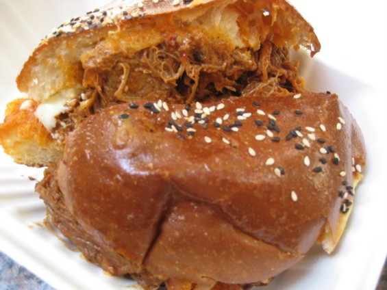 Barbecued short rib sandwich ($8.50). - JONATHAN KAUFFMAN