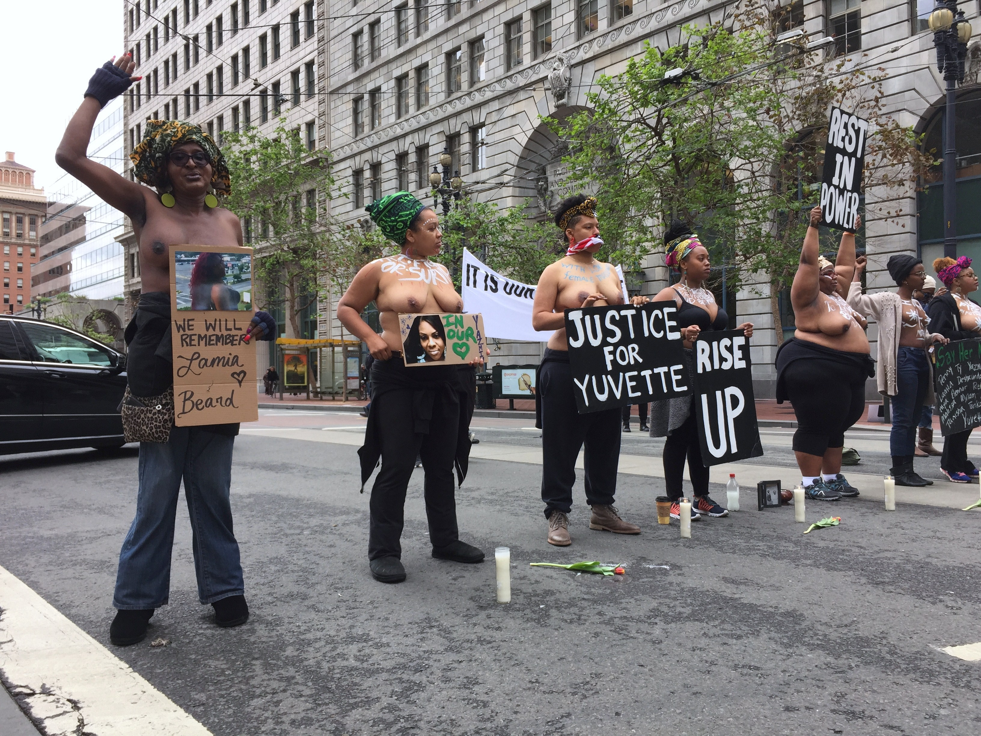 naked Black women public protesting in