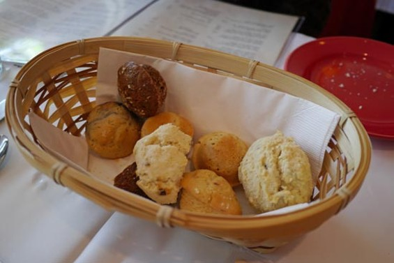 Basket of warm scones, mini muffins and assorted pastries