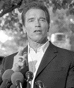 COURTESY OF AP WIDE WORLD PHOTOS - Battle-Ready: Schwarzenegger gets his way - while making others feel they've won.