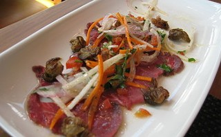 Beef tenderloin crudo, with mouth-searing rocoto chiles. - M. BRODY