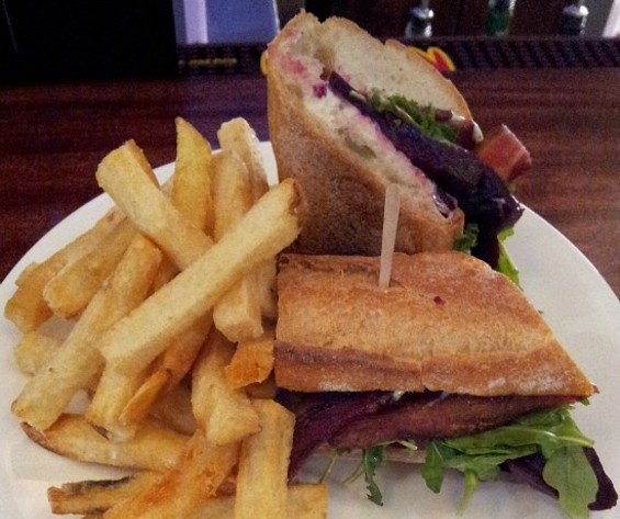 Beet, bacon, and arugula sandwich at Sydney Town Tavern. - PETE KANE
