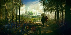 Behind every man behind the curtain is a witch: James Franco and Mila Kunis in Oz the Great and Powerful.