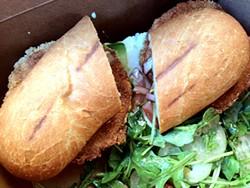 TAMARA PALMER - Behold the glorious cornmeal crust on this fried green tomato sandwich.