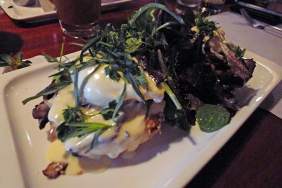 Benedict: poached eggs, wild mushroom ragout, fines herbs, celery root hollandaise, housemade English muffin