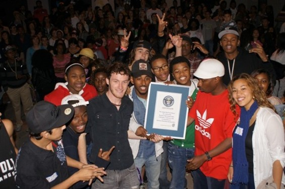 Berkeley High students with their newly won Guinness World Record certificate.