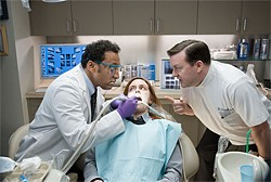 Bertram Pincus (Ricky Gervais, right) plays a sad little dentist who ends up helping dead people after his own near-death experience.