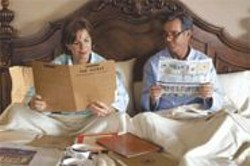 GLEN  WILSON - Between the Sheets: The First Lady (Marcia Gay Harden) and the President (Dennis Quaid) catch up on their morning reading.
