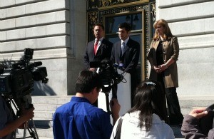 Bill Fazio, David Onek, and Sharmin Bock speak to reporters at City Hall - PHOTO COURTESY SHARMIN BOCK FOR DISTRICT ATTORNEY