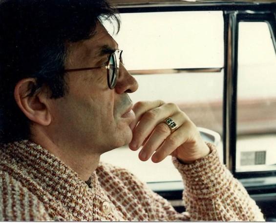 Bill Graham driving across the Golden Gate Bridge in 1983 - JAN SIMMONS