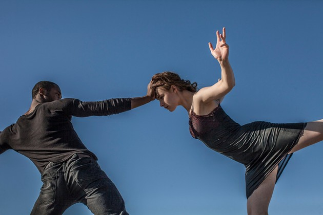 Maurya Kerr; dancers Babatunji Johnson & Megan Wright; photo credit Stephen Texeira