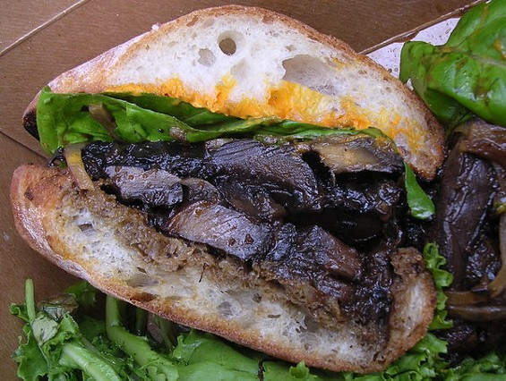 "Braised mushroom sandiwch on grilled ciabatta with cashew-gypsy pepper ""cheese,"" $9. - JOHN BIRDSALL"