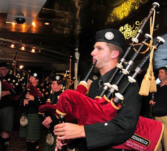 Bushmills Pipe and Drum add appropriate atmosphere - COURTESY OF WHISKIES OF THE WORLD