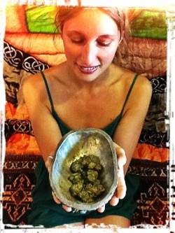 Dee Dussault offers up a bowl of cannabis for medicated yoga sessions. - COURTESY HTTP://DEEDUSSAULT.COM/