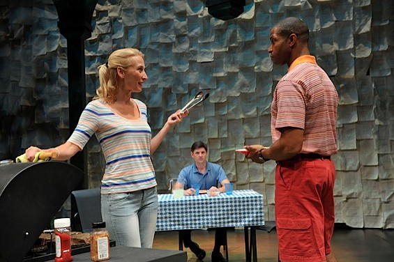 Carrie Paff and  Aldo Billingslea bicker during their barbecue picnic as Gabriel Marin looks on in the Bay Area Premiere of 'This is How It Goes' - DAVID ALLEN
