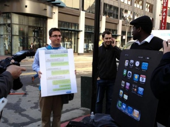 "Change.org petitioners call for an ""ethical iPhone"" at S.F. Apple store. -  JOSH LOWENSOHN, CNET"