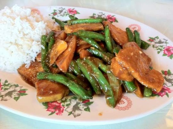 Chef Jia's sweet potatoes with string beans. - JONATHAN KAUFFMAN