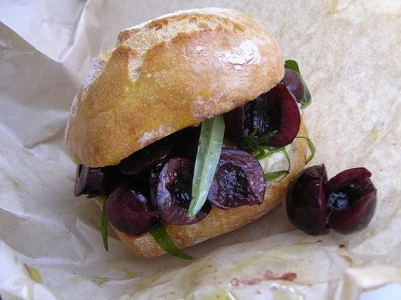 Cherry sandwich with tarragon and Crescenza cheese ($5.50). - JOHN BIRDSALL