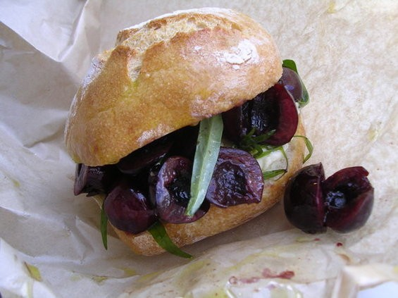 Cherry sandwich with tarragon and Crescenza cheese ($5.50). - JOHN BIRDSALL