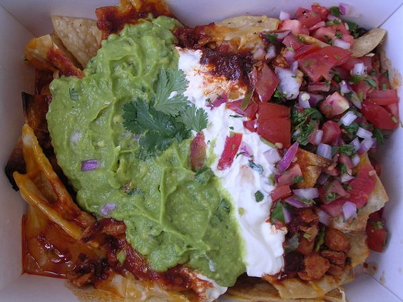 Chicken and chorizo nachos ($10). - JOHN BIRDSALL