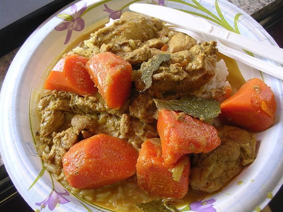 Chicken curry over rice ($6.25). - JOHN BIRDSALL