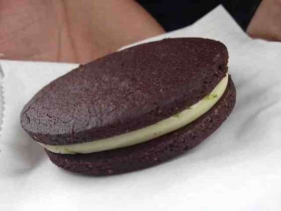 Chocolate-lime sandwich cookie at Outerlands. - TAMARA PALMER