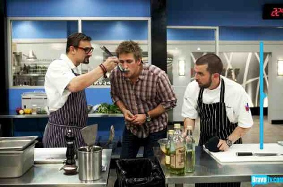 Chris Cosentino and his chef de cuisine Manfred Wrembel give Curtis Stone a taste of victory. - BRAVO TV
