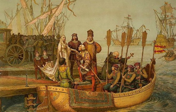 "Christopher Columbus bids farewell to the Queen of Spain in 1492. - ""THE FIRST VOYAGE"", CHROMOLITHOGRAPH BY L. PRANG & CO., 1893"