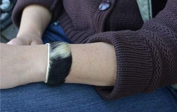 Claire Herminjard's beef skin bracelet is a reminder that the cows she works with will eventually be processed.. - ALICE DISHES