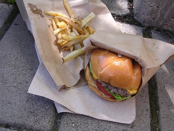 Classic burger ($7) from Doc's of the Bay, a truck hoping to make the leap from Emeryville to San Francisco. - JOHN BIRDSALL
