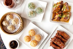 LARA HATA - Clockwise from top right:  stuffed eggplant, coffee pork ribs, egg yolk almond balls, steamed pork dumpling, pan fried shrimp and chive dumpling