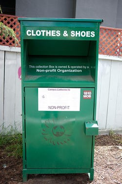 Clothing is collected in Campus California's Bay Area dropoff boxes. - JAMIE SOJA
