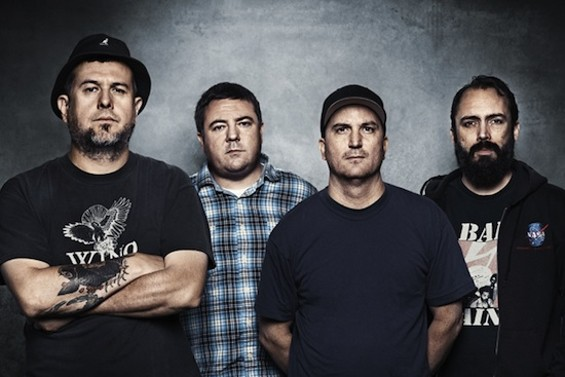 Clutch, with Neil Fallon at far right.