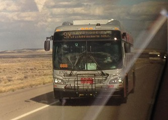 Coach No. 8706 cruises through Wyoming on Oct. 17, weeks before the contract for it to be built is signed - JOSH EDELSON