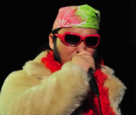 Comedian Dash Kwiatkowski had the wrestler look and delivery down. - SAHAR SHIRAZI